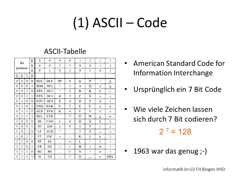 (1) ASCII – Code ASCII-Tabelle