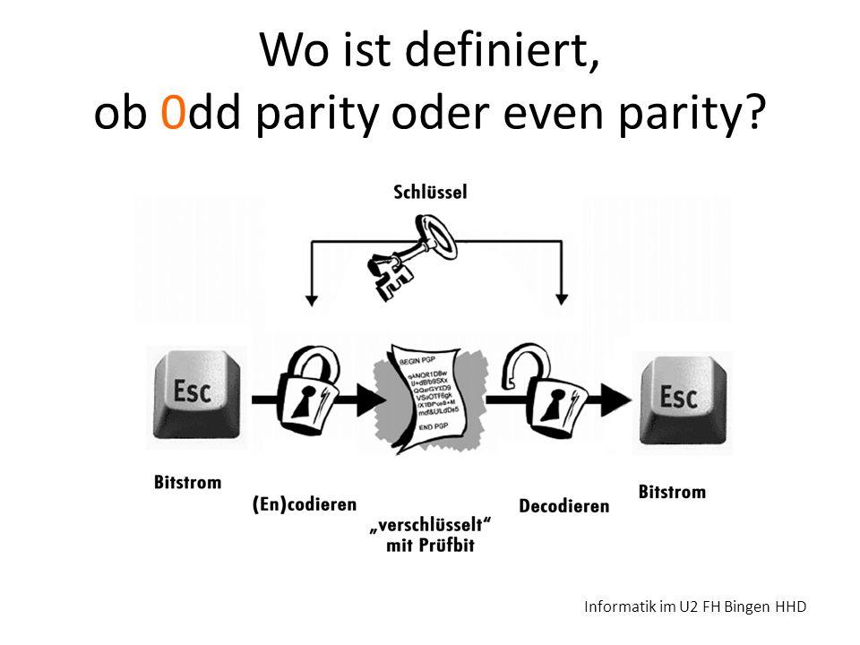Wo ist definiert, ob 0dd parity oder even parity