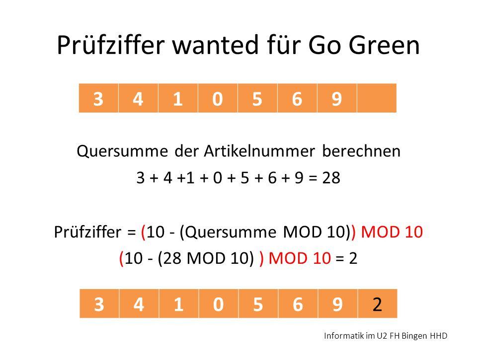 Prüfziffer wanted für Go Green