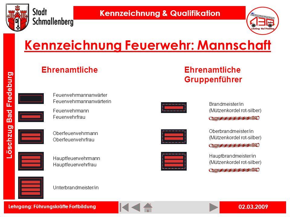 Kennzeichnung Feuerwehr: Mannschaft
