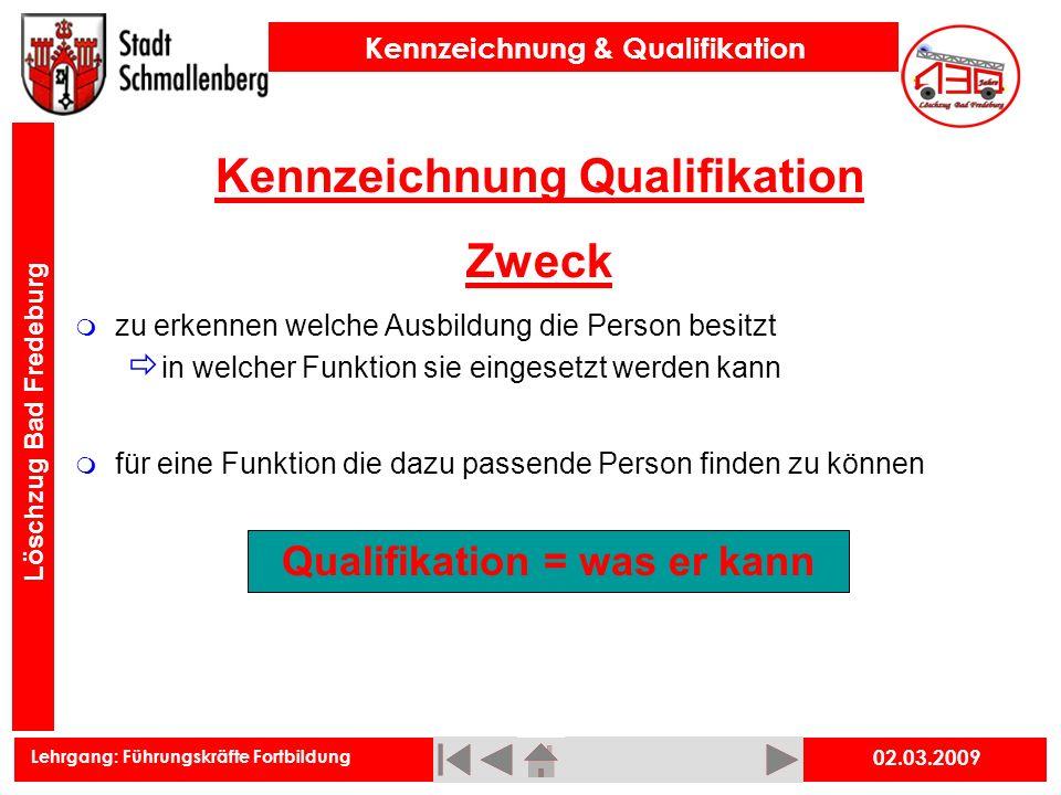 Kennzeichnung Qualifikation Zweck Qualifikation = was er kann