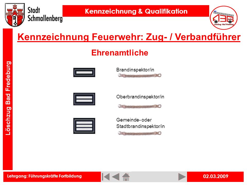 Kennzeichnung Feuerwehr: Zug- / Verbandführer