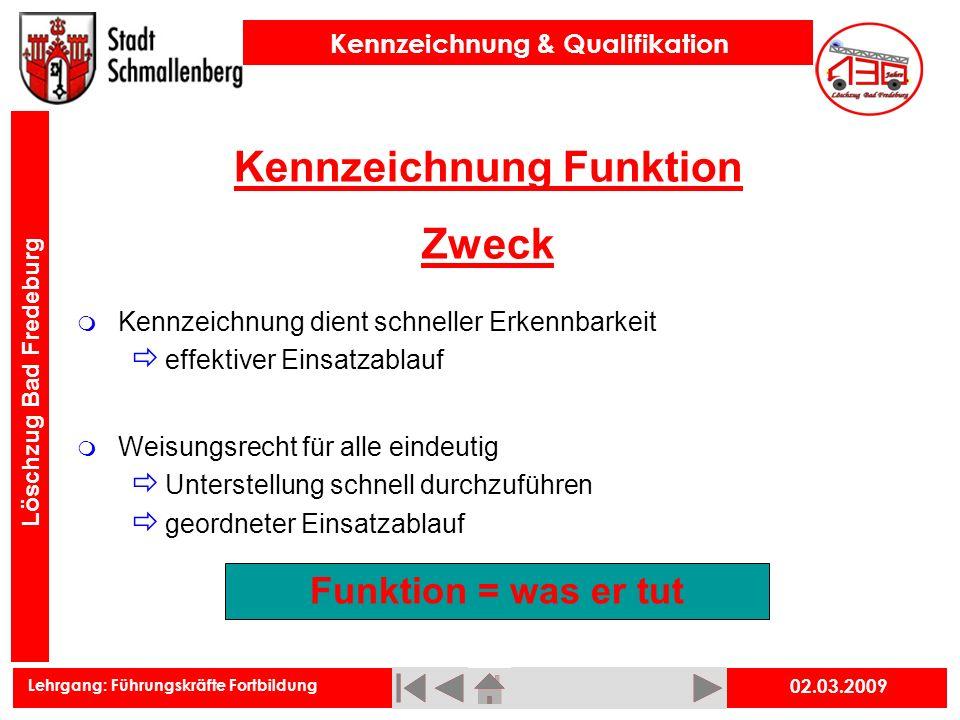 Kennzeichnung Funktion Zweck