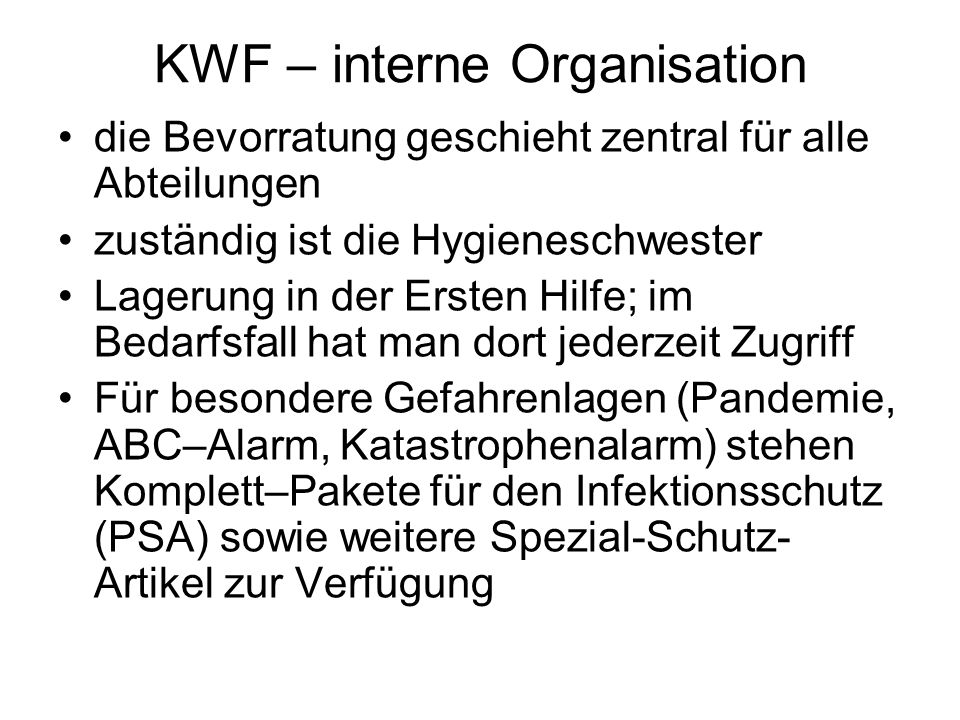 KWF – interne Organisation