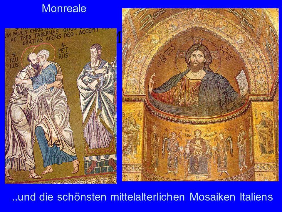 Monreale Mosaiken. In der Benediktinerkirche befindet sich der größte Mosaikzyklus des Mittelalters überhaupt.