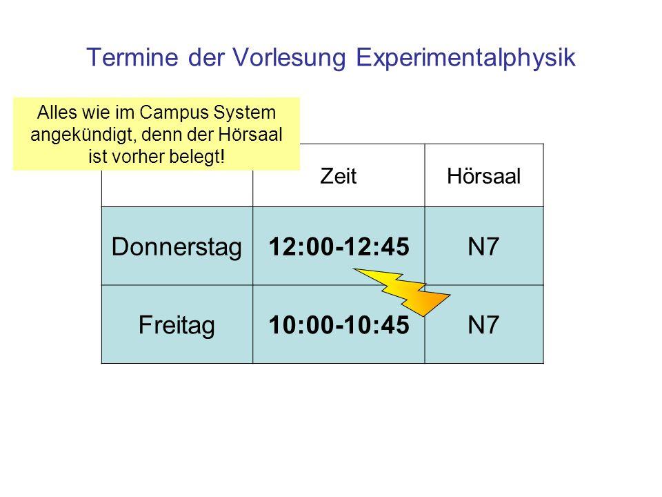Termine der Vorlesung Experimentalphysik