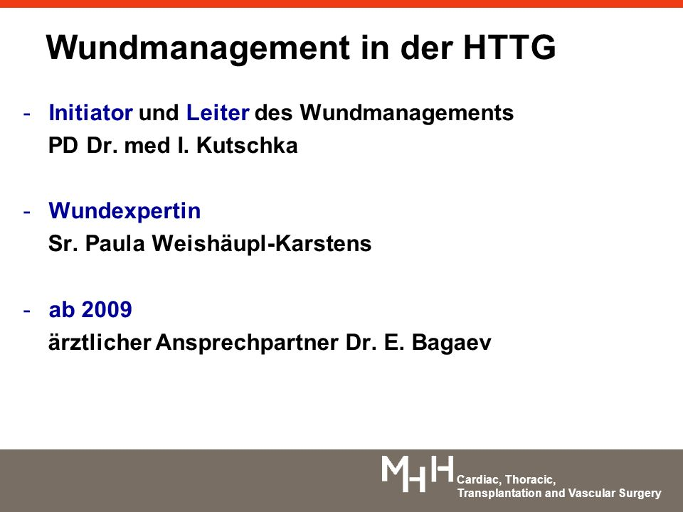 Wundmanagement in der HTTG