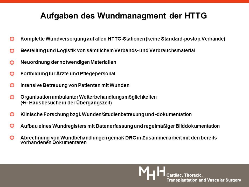 Aufgaben des Wundmanagment der HTTG