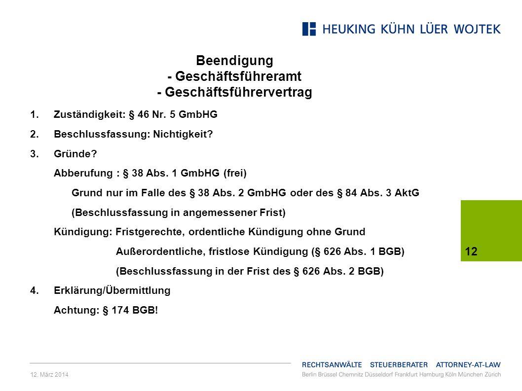 Beendigung - Geschäftsführeramt - Geschäftsführervertrag