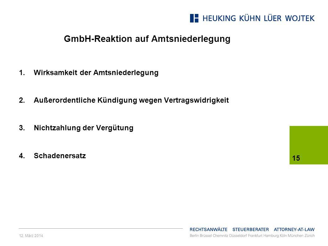 GmbH-Reaktion auf Amtsniederlegung
