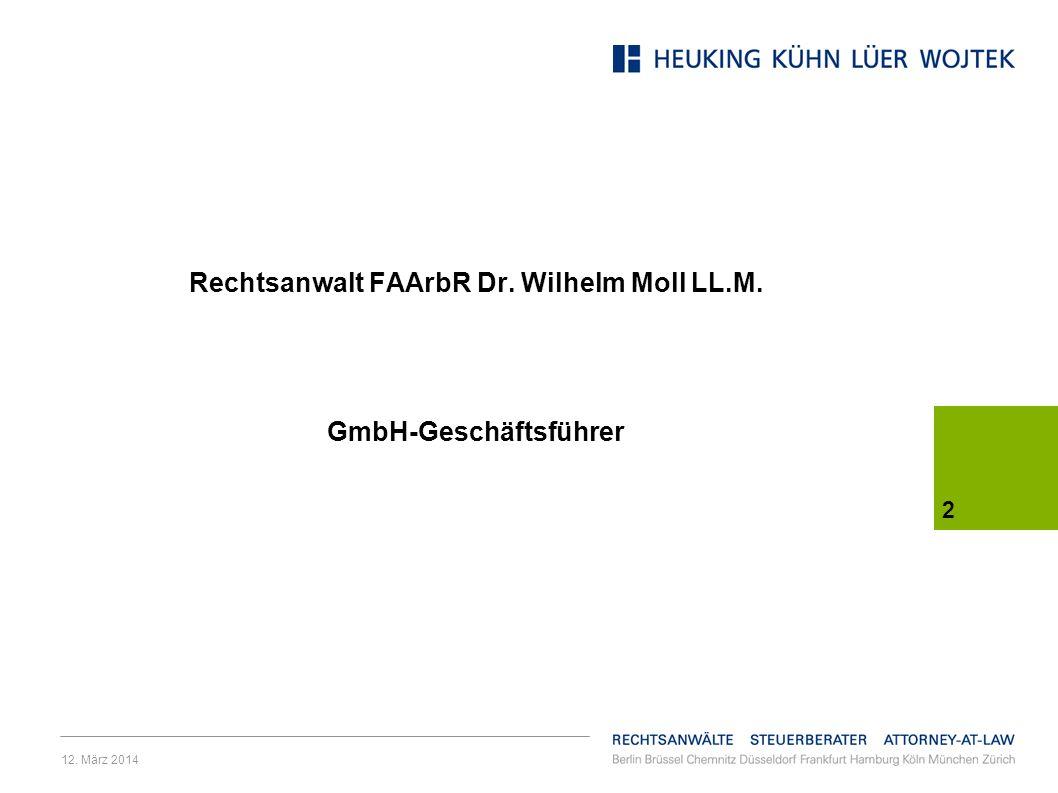 Rechtsanwalt FAArbR Dr. Wilhelm Moll LL.M. GmbH-Geschäftsführer