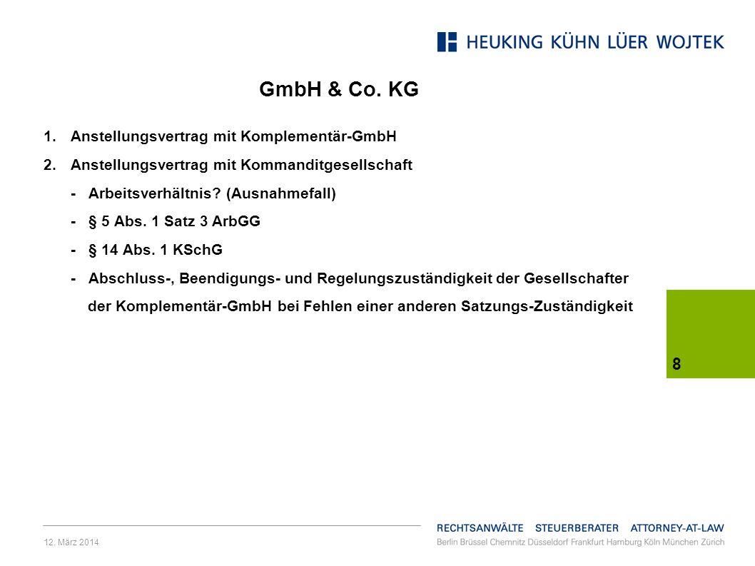 GmbH & Co. KG Anstellungsvertrag mit Komplementär-GmbH