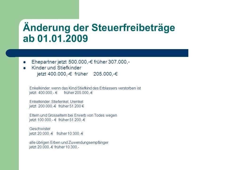 Änderung der Steuerfreibeträge ab 01.01.2009