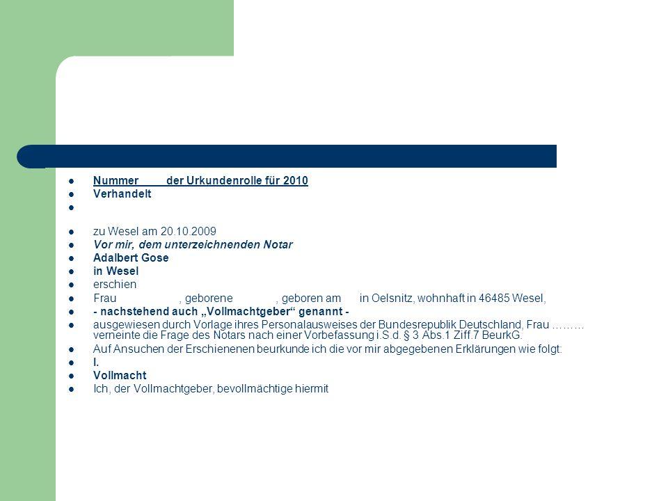Nummer der Urkundenrolle für 2010