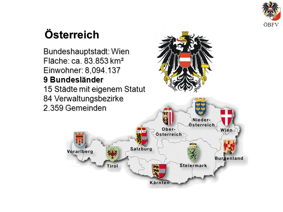 Österreich Bundeshauptstadt: Wien Fläche: ca. 83.853 km²