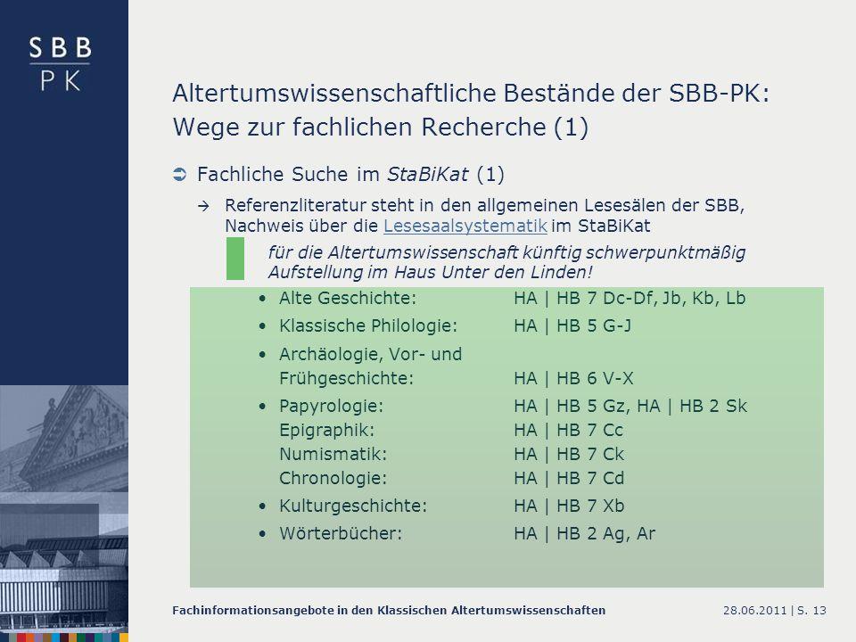 Altertumswissenschaftliche Bestände der SBB-PK: Wege zur fachlichen Recherche (1)