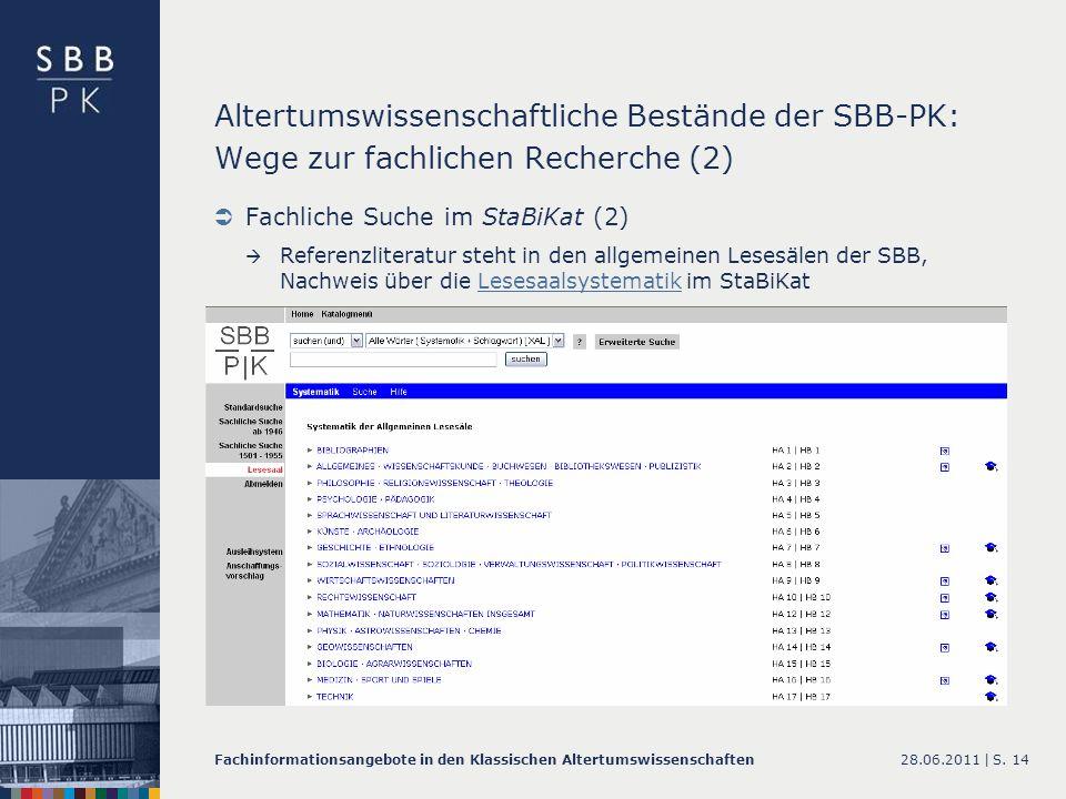 Altertumswissenschaftliche Bestände der SBB-PK: Wege zur fachlichen Recherche (2)