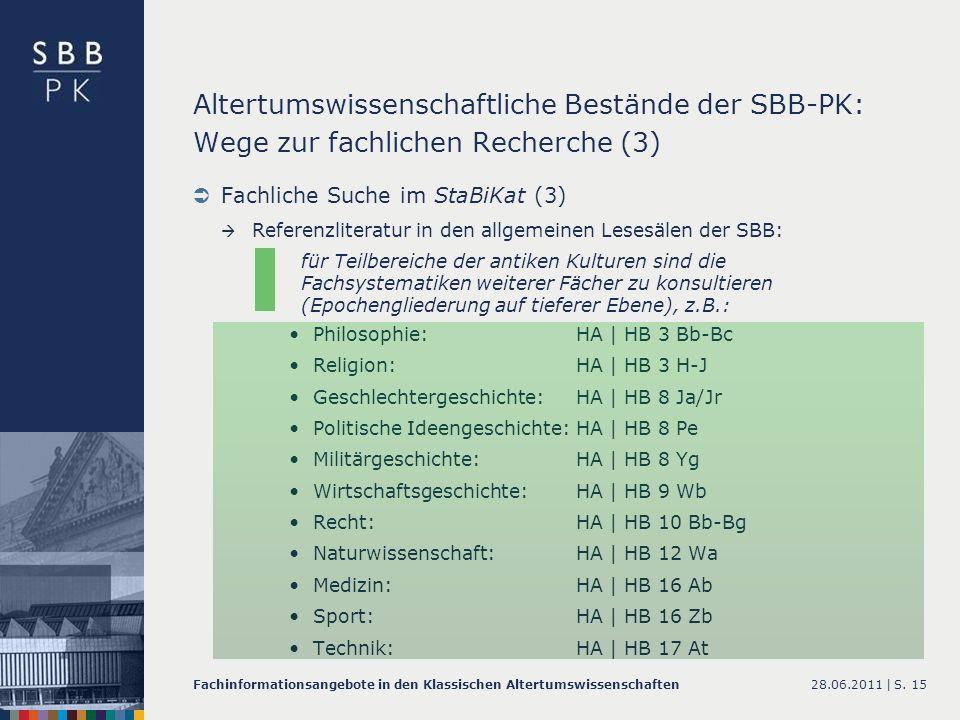 Altertumswissenschaftliche Bestände der SBB-PK: Wege zur fachlichen Recherche (3)