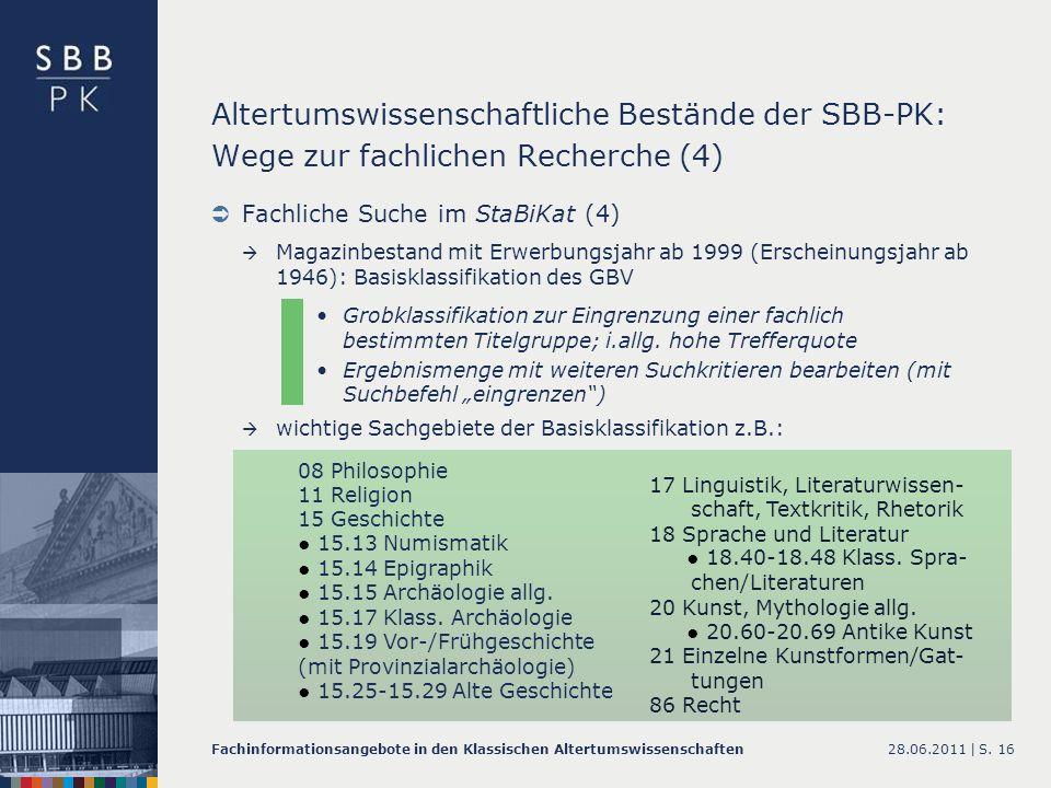 Altertumswissenschaftliche Bestände der SBB-PK: Wege zur fachlichen Recherche (4)