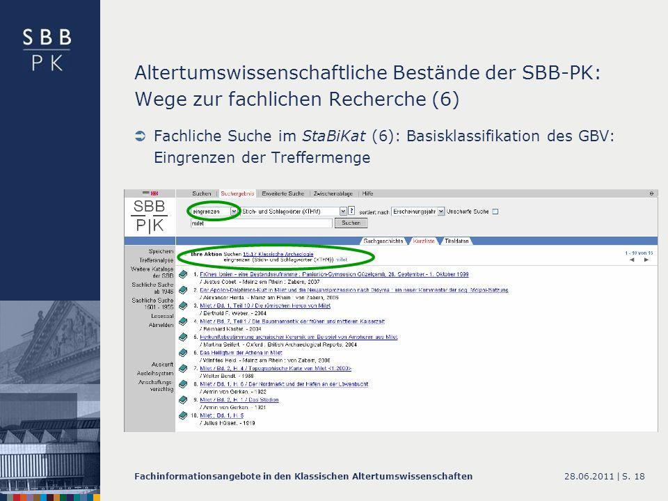 Altertumswissenschaftliche Bestände der SBB-PK: Wege zur fachlichen Recherche (6)