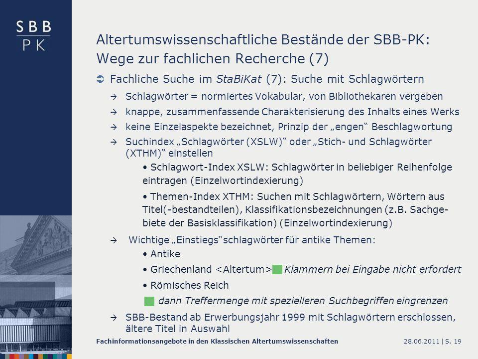Altertumswissenschaftliche Bestände der SBB-PK: Wege zur fachlichen Recherche (7)