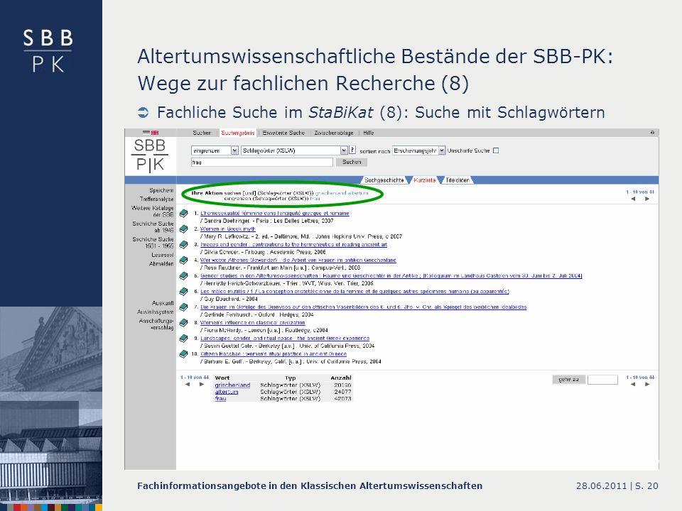 Altertumswissenschaftliche Bestände der SBB-PK: Wege zur fachlichen Recherche (8)