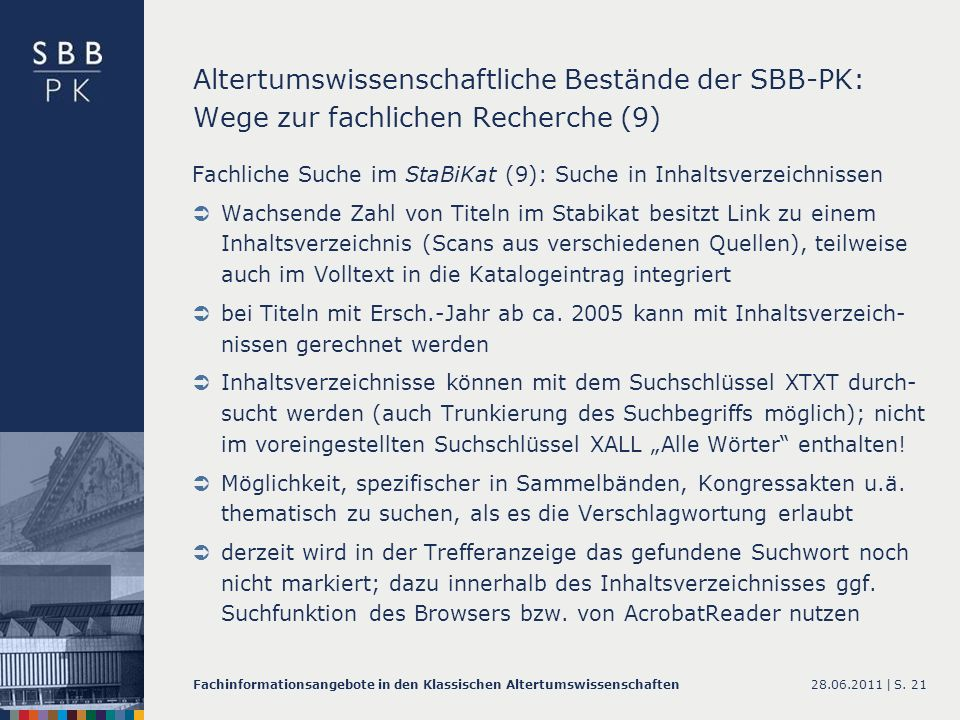 Altertumswissenschaftliche Bestände der SBB-PK: Wege zur fachlichen Recherche (9)