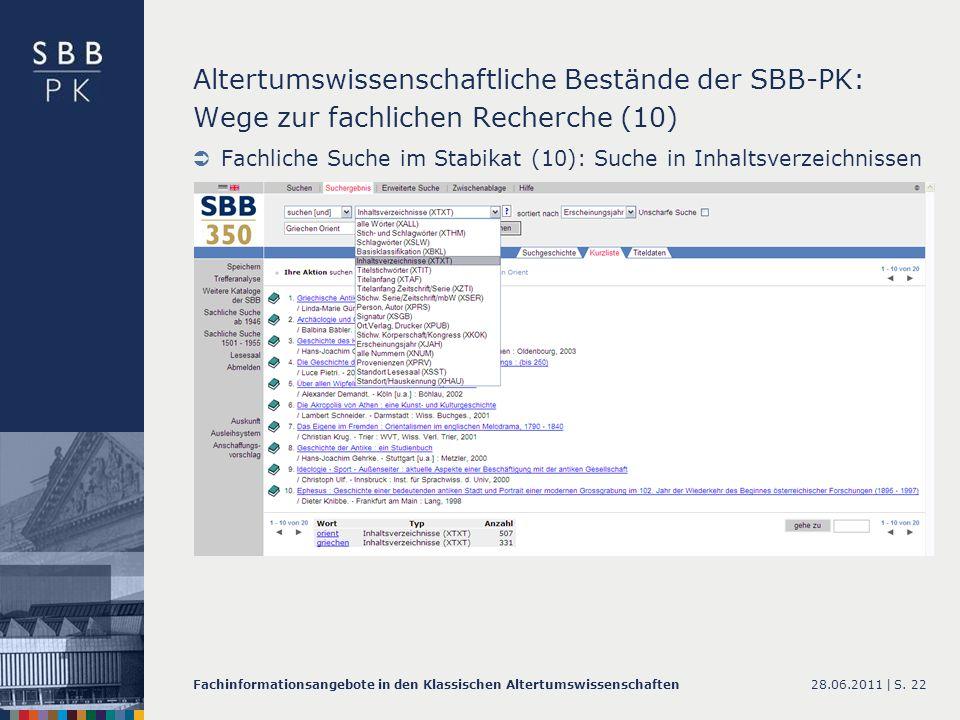Altertumswissenschaftliche Bestände der SBB-PK: Wege zur fachlichen Recherche (10)