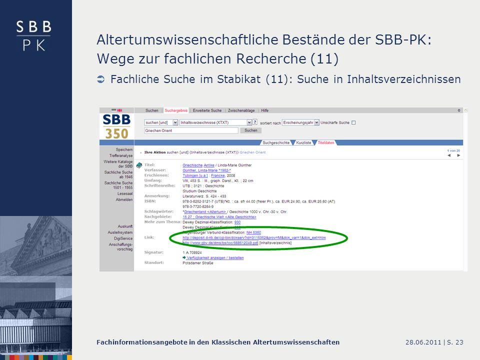 Altertumswissenschaftliche Bestände der SBB-PK: Wege zur fachlichen Recherche (11)