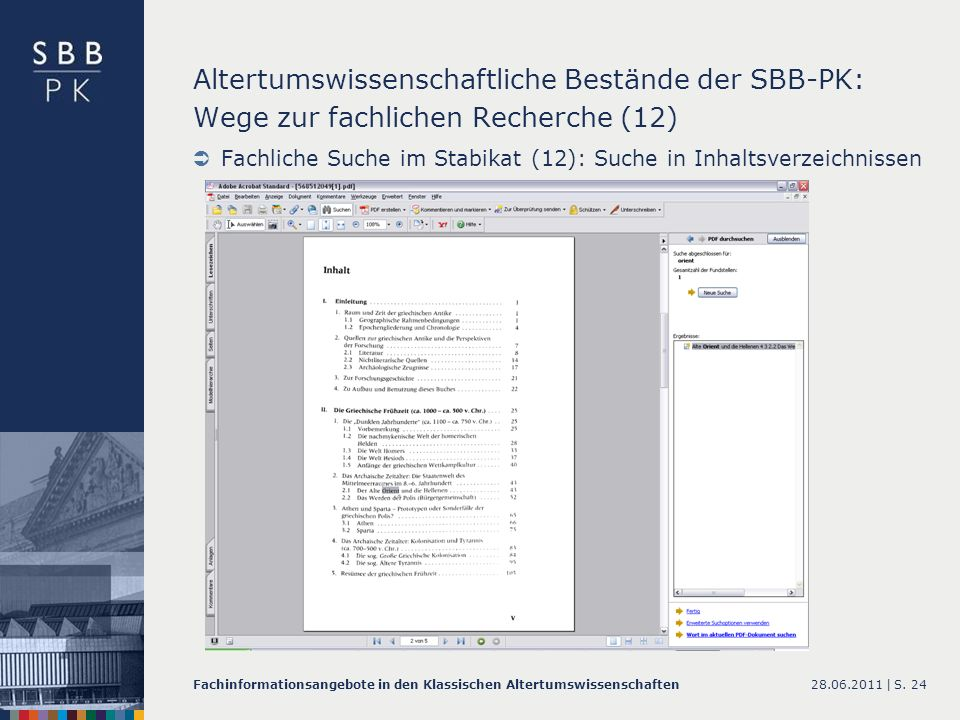 Altertumswissenschaftliche Bestände der SBB-PK: Wege zur fachlichen Recherche (12)