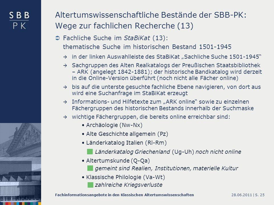 Altertumswissenschaftliche Bestände der SBB-PK: Wege zur fachlichen Recherche (13)