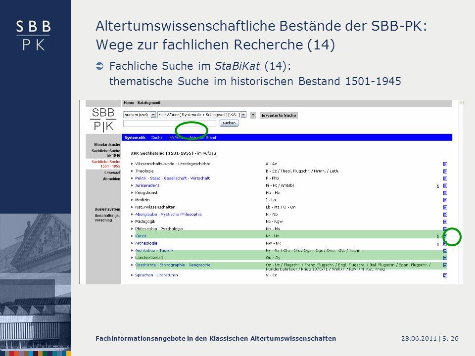 Altertumswissenschaftliche Bestände der SBB-PK: Wege zur fachlichen Recherche (14)