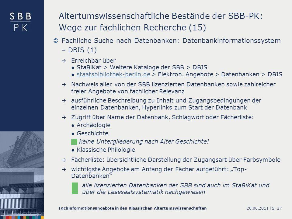 Altertumswissenschaftliche Bestände der SBB-PK: Wege zur fachlichen Recherche (15)