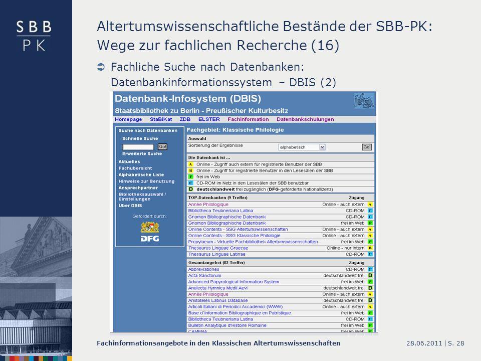 Altertumswissenschaftliche Bestände der SBB-PK: Wege zur fachlichen Recherche (16)
