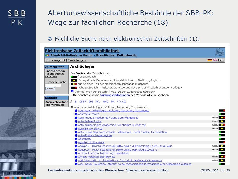 Altertumswissenschaftliche Bestände der SBB-PK: Wege zur fachlichen Recherche (18)