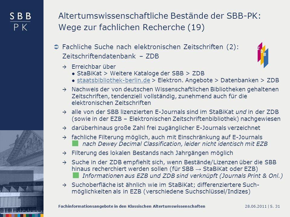 Altertumswissenschaftliche Bestände der SBB-PK: Wege zur fachlichen Recherche (19)