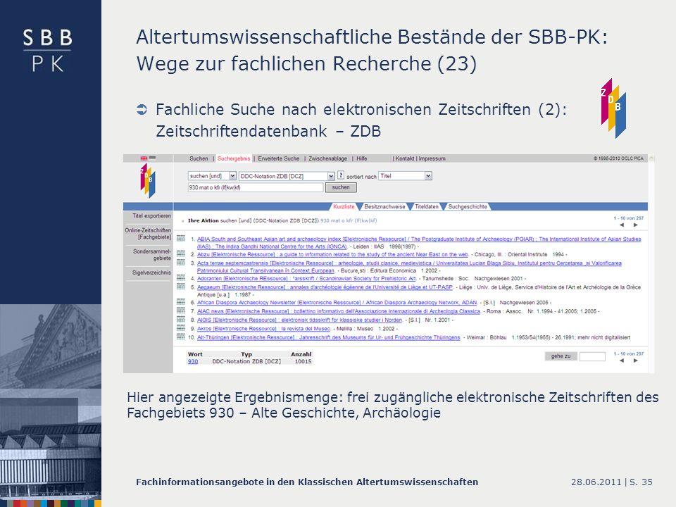 Altertumswissenschaftliche Bestände der SBB-PK: Wege zur fachlichen Recherche (23)