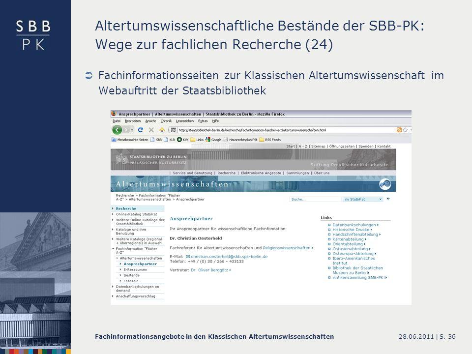 Altertumswissenschaftliche Bestände der SBB-PK: Wege zur fachlichen Recherche (24)