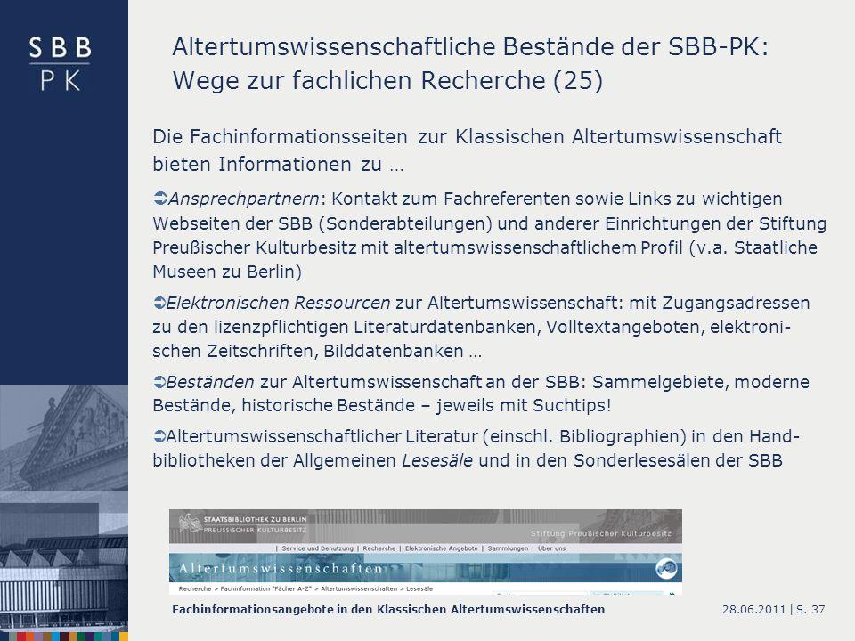 Altertumswissenschaftliche Bestände der SBB-PK: Wege zur fachlichen Recherche (25)