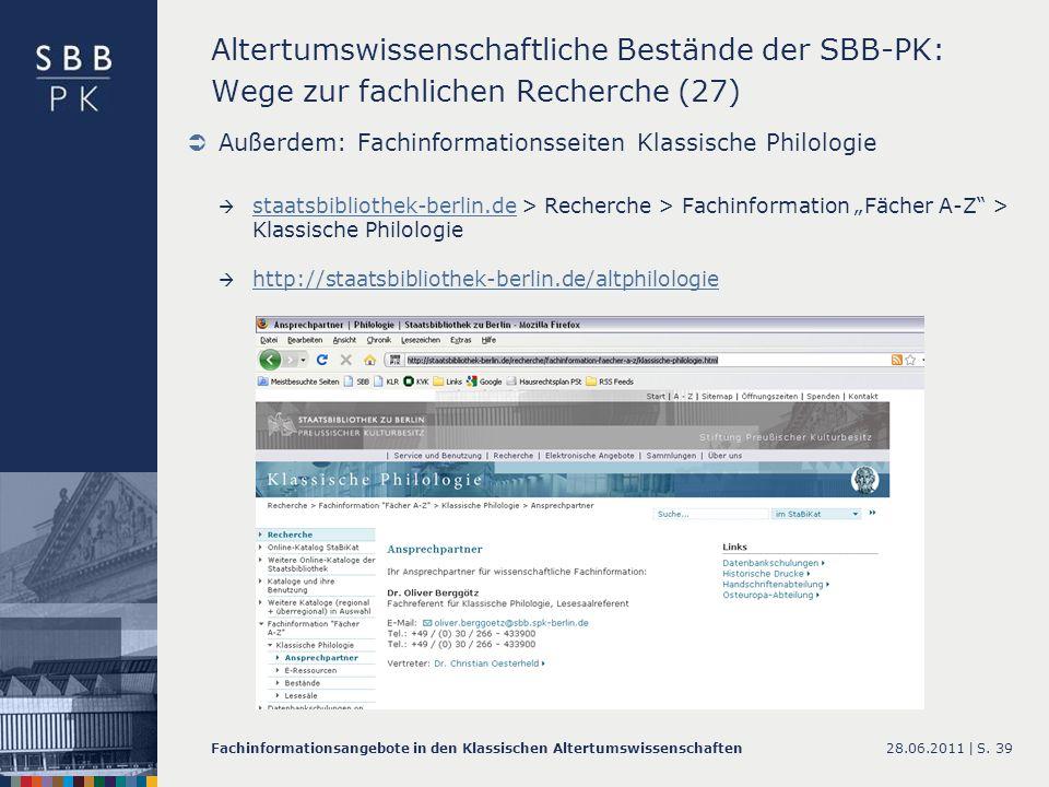 Altertumswissenschaftliche Bestände der SBB-PK: Wege zur fachlichen Recherche (27)