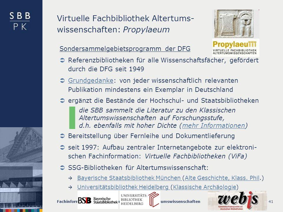 Virtuelle Fachbibliothek Altertums- wissenschaften: Propylaeum