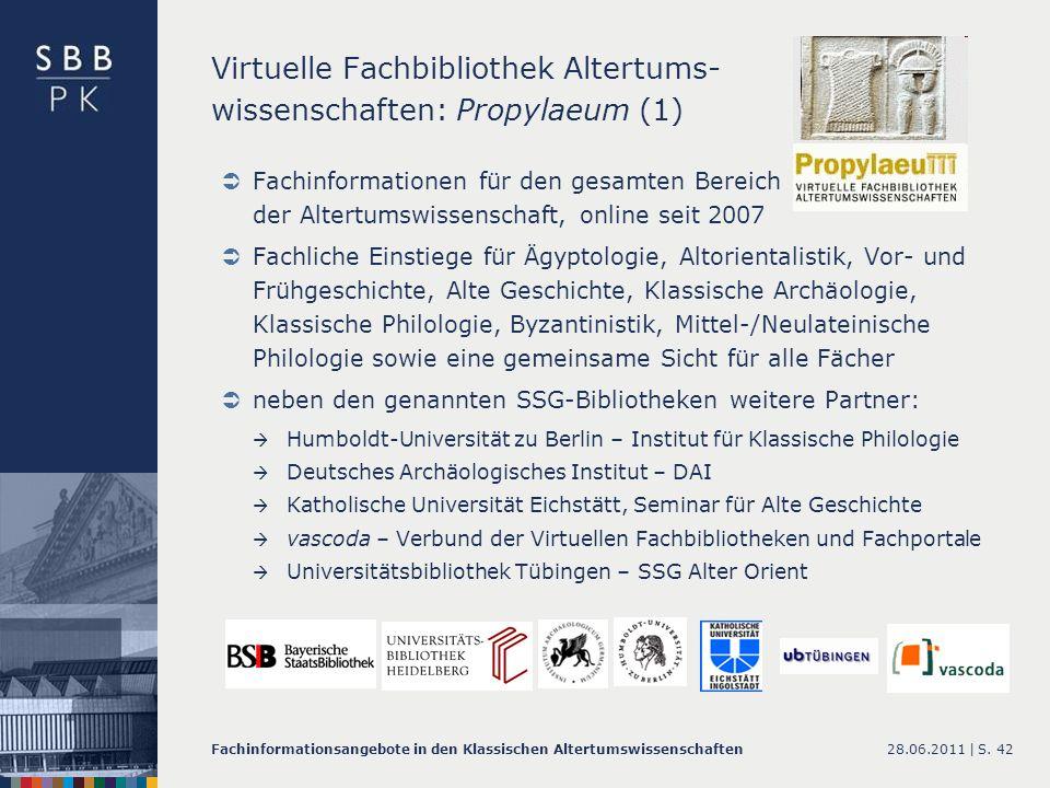 Virtuelle Fachbibliothek Altertums- wissenschaften: Propylaeum (1)