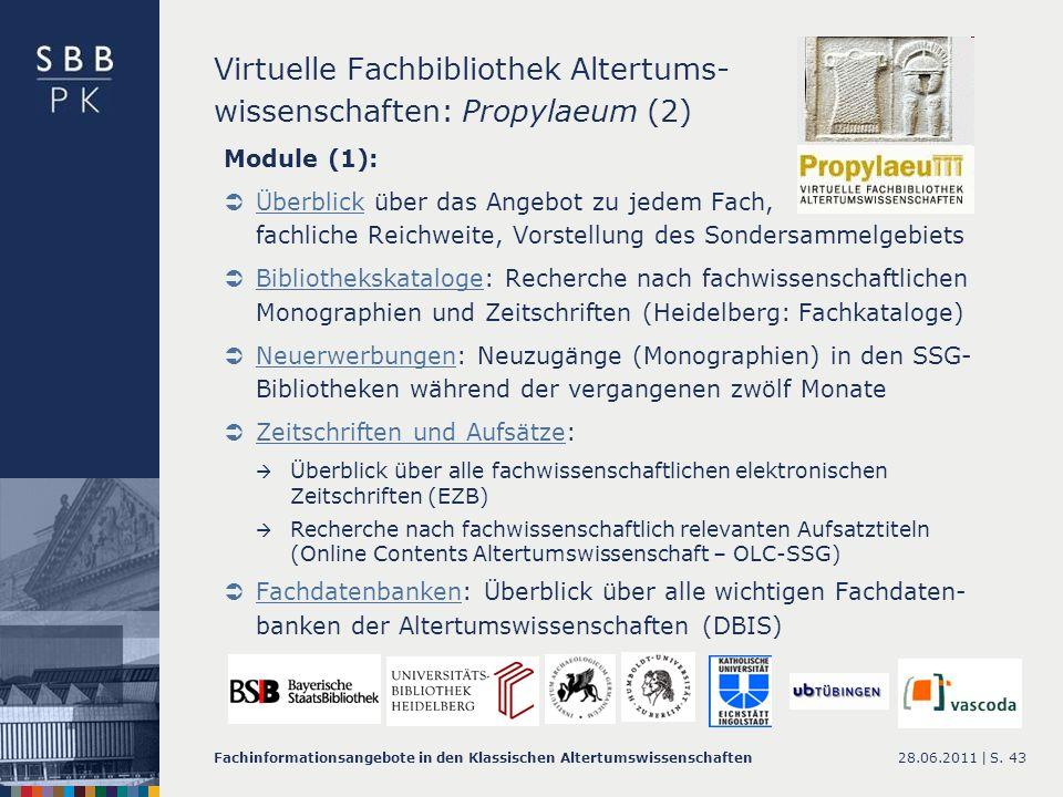 Virtuelle Fachbibliothek Altertums- wissenschaften: Propylaeum (2)