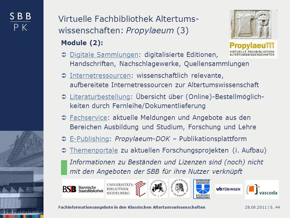 Virtuelle Fachbibliothek Altertums- wissenschaften: Propylaeum (3)
