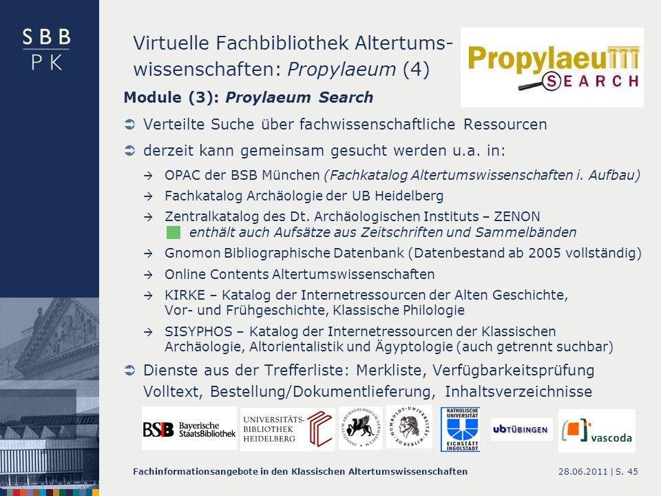 Virtuelle Fachbibliothek Altertums- wissenschaften: Propylaeum (4)