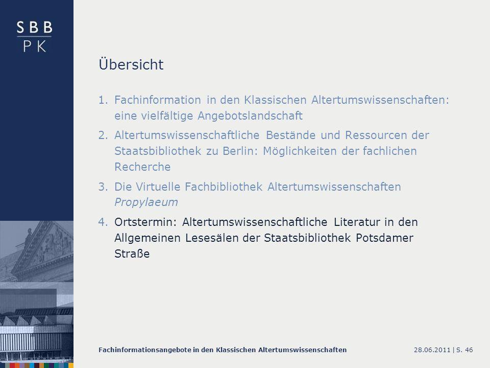 Übersicht Fachinformation in den Klassischen Altertumswissenschaften: eine vielfältige Angebotslandschaft.