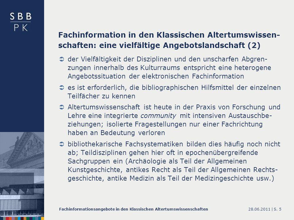 Fachinformation in den Klassischen Altertumswissen-schaften: eine vielfältige Angebotslandschaft (2)