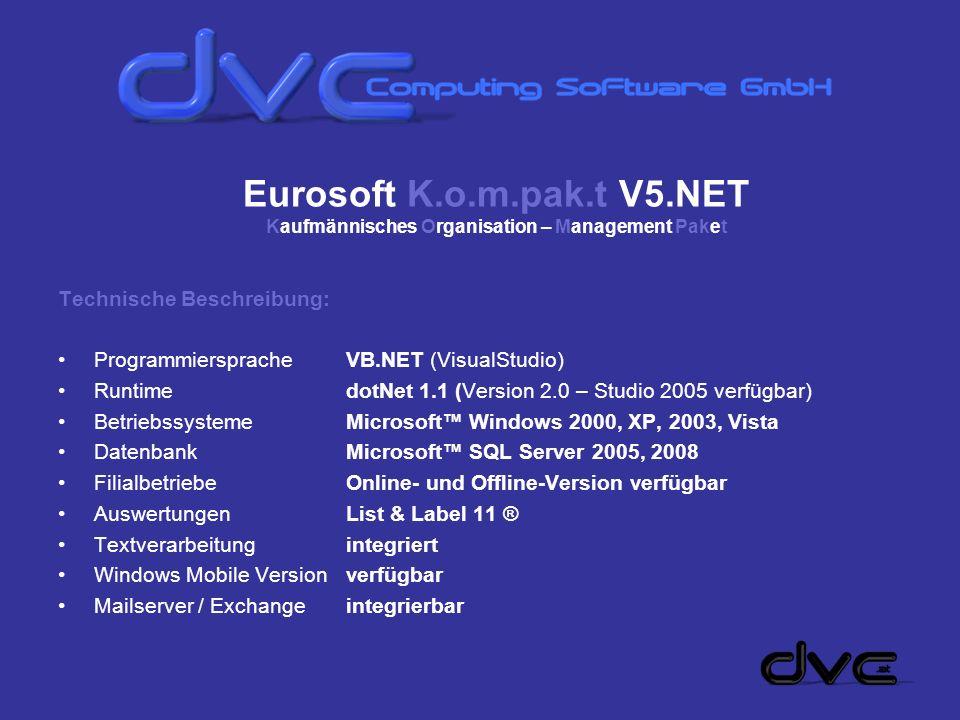 Eurosoft K.o.m.pak.t V5.NET Kaufmännisches Organisation – Management Paket