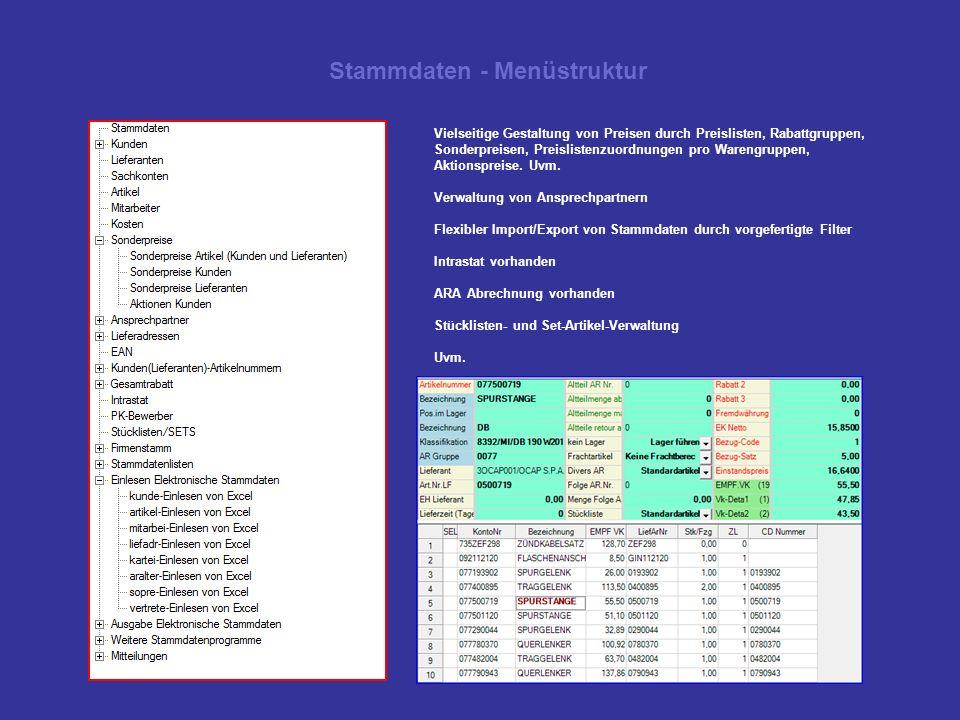 Stammdaten - Menüstruktur
