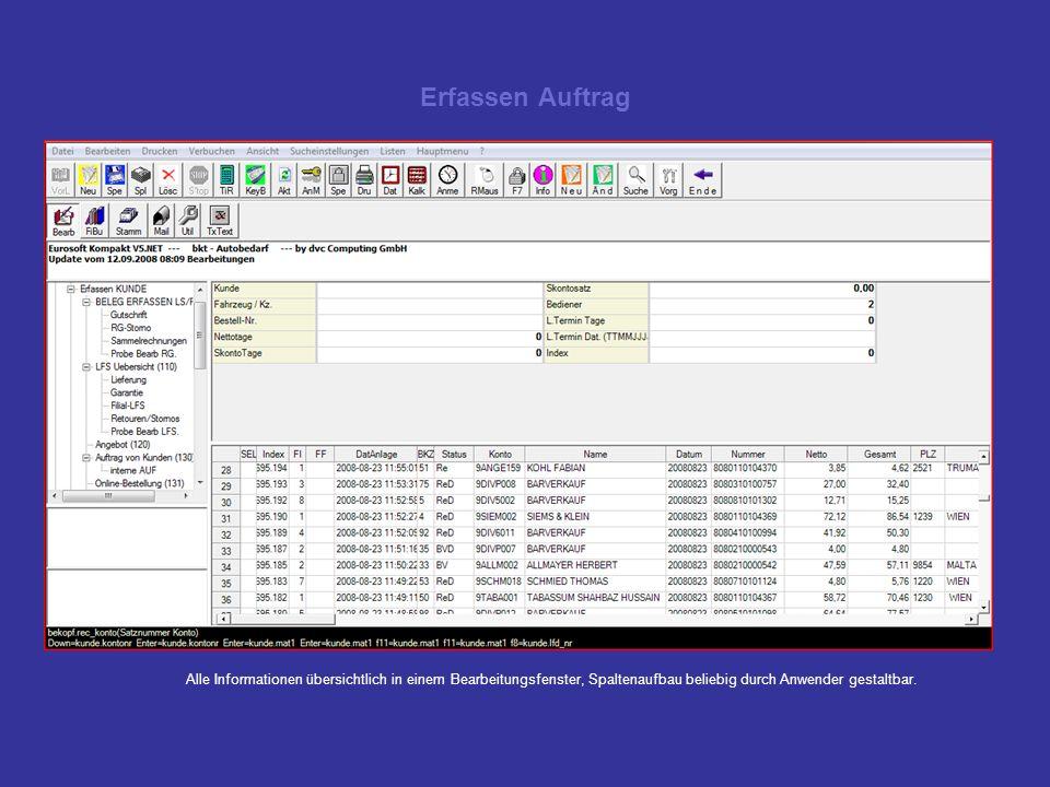 Erfassen Auftrag Alle Informationen übersichtlich in einem Bearbeitungsfenster, Spaltenaufbau beliebig durch Anwender gestaltbar.